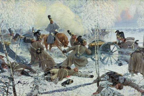 """""""Гвардейская конная артиллерия обстреливает французские колонны во время отступления наполеоновской армии"""". П.П. Карягин. 1912 г."""