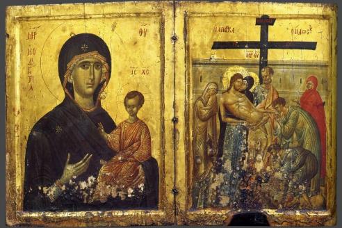 Богоматерь Одигитрия. Снятие со креста. Диптих. XIV в.