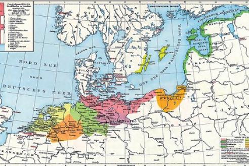 Старинная немецкая карта Ганзийского союза 1400 г.