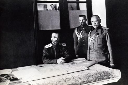 Император Николай II с чинами Штаба Верховного Главнокомандующего. г. Барановичи, Минская губ. 1915 г.