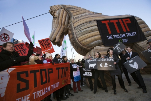 Акция протеста против Трансатлантического партнёрства. Брюссель. 2015 г.