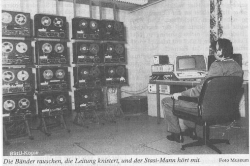 Стойка с импортными магнитофонами одного из постов радиоконтроля ШТАЗИ