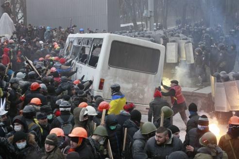 Столкновение между митингующими и правоохранителями на ул. Грушевского в Киеве