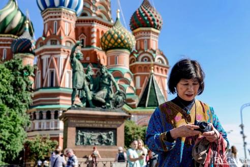 Китайские  туристы в Москве