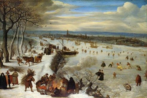 «Вид Антверпена с замёрзшей Шельдой». Л. Фалькенборх. 1593 г.