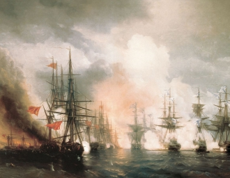 """""""Истребление турецкого флота в Синопском сражении 18 ноября 1853 года"""". А.П. Боголюбов"""