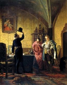 – «Присяга Лжедмитрия I польскому королю Сигизмунду III на введение в России католицизма». Н.В. Неврев. 1874 г.