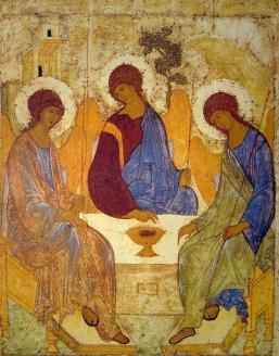 """Икона """"Святая Троица"""". Прп. Андрей Рублёв. Начало XV в."""