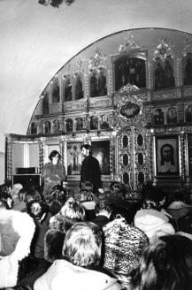 На первом исполнении «Юноны и Авось» в церкви Покрова в Филях. 10 декабря 1980 г.