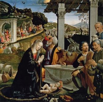 """""""Поклонение  пастухов""""  Д. Гирландайо.  Капелла Сассети церкви Санта Тринита, Флоренция 1485 г."""