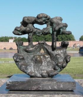 Памятный знак в Новгороде, установленный в честь Ганзейских дней