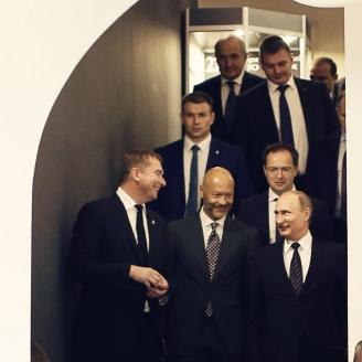"""Президент РФ В. Путин на киностудии """"Ленфильм"""". 2016 г."""