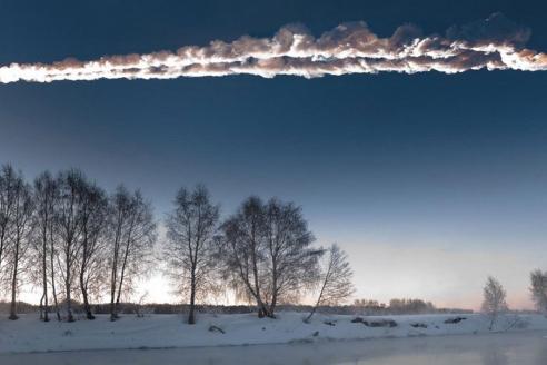 Челябинский метеорит и его след